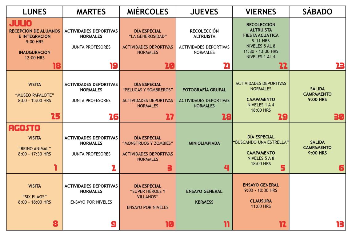 Calendario De Actividades Eventos: Calendario Y Horarios De Actividades